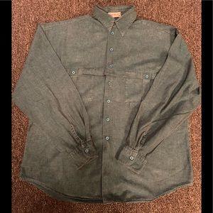 Bachrach LS green button up 80's men's shirt so M